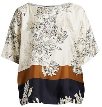 Marina Rinaldi, Plus Size Famoso Floral Print Silk Twill Tunic