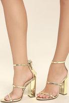 Liliana Fifi Mirror Gold Ankle Strap Heels