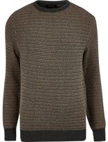 River Island MensBrown textured knitted sweater