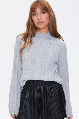 Forever 21 Distressed Cable Knit Sweater