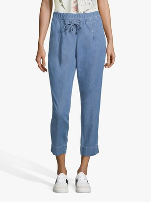 Betty & Co Cropped Rope Tie Waist Denim Trousers, Blue
