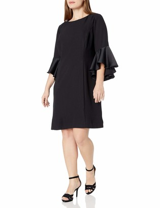 Adrianna Papell Women's Size Plus Crepe-Back Satin with Ruffle Sleeve Dress