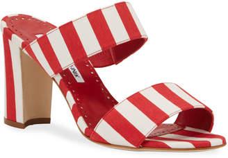 Manolo Blahnik Kalita Striped Slide Sandals