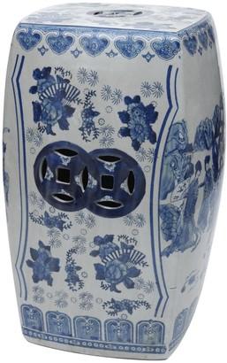 "Oriental Furniture 18"" Ladies Blue & White Porcelain Square Garden Stool"