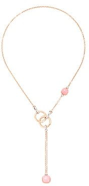 Pomellato 18K White Gold & 18K Rose Gold Nudo Maxi Rose Quartz, Chalcedony & Brown Diamond Lariat Necklace, 20