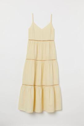 H&M V-neck Cotton Dress - Yellow