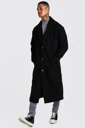 boohoo Mens Black Single Breasted Extra Longline Overcoat, Black