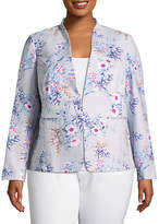 Liz Claiborne Long Sleeve Collarless Suiting Jacket-Plus