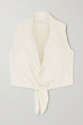 Faithfull The Brand Fernanda Cropped Tie-front Linen Top - Off-white