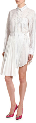 Off-White Poplin Wrap Shirtdress