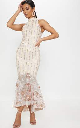 PrettyLittleThing Rose Gold Sequin High Neck Fishtail Midaxi Dress