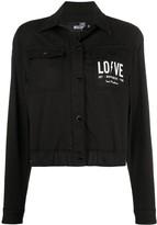 Love Moschino cropped logo denim jacket