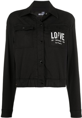 Love Moschino Cropped Logo Denim Jacket