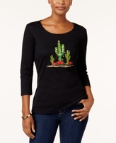 Karen Scott Petite Cotton Embroidered Top, Created for Macy's