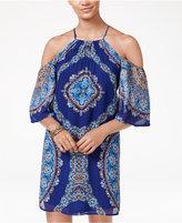 City Studios Juniors' Printed Cold-Shoulder Halter Dress