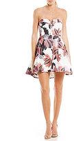 Keepsake Divide One-Shoulder Mini Floral Dress