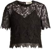 Diane von Furstenberg Leaf and floral macramé-lace top