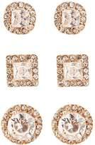 Charlotte Russe Pave Crystal Stud Earrings - 3 Pack