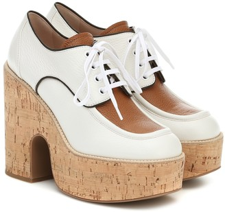 Miu Miu Leather and cork platforms
