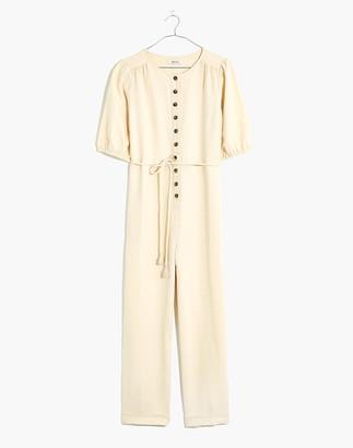 Madewell Linen-Blend Puff-Sleeve Tassel-Tie Jumpsuit