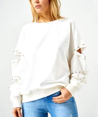 Boutiquen Women's Sweatshirts and Hoodies WHITE - White Bead-Accent Cutout-Sleeve Sweatshirt - Women