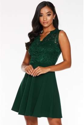 Quiz Petite Bottle Green Lace Scallop Skater Dress