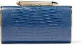 Kotur Bailey Croc-effect Leather Clutch - Navy