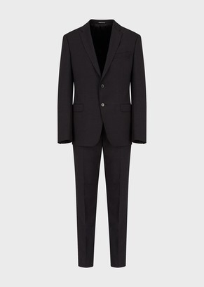 Emporio Armani Single-Breasted, Slim-Fit Suit In Light Stretch Wool