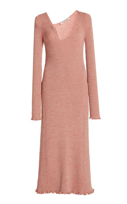 Jil Sander Asymmetric Neckline Ribbed Wool-Blend Dress