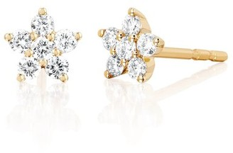 Ef Collection Diamond Flower Stud Earring in Yellow Gold