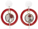 Marni Gold And Silver-tone, Resin And Crystal Earrings - Red