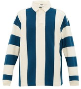 YMC Striped Loopback-cotton Rugby Shirt - Mens - Beige