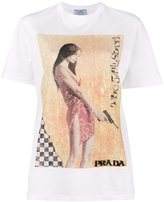 Prada pin-up print beaded T-shirt