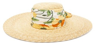 Avenue The Label - Dolce Floral-print Satin-band Straw Hat - Womens - Multi