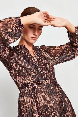 Karen Millen Printed Pintuck Midi Dress
