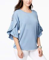 Style&Co. Style & Co Ruffled Crochet-Inset Sweatshirt, Created for Macy's