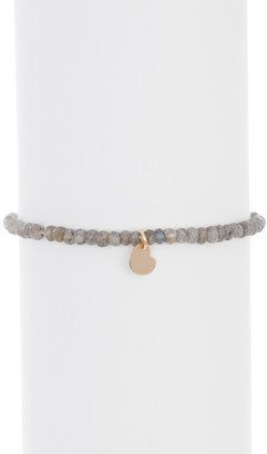 ADORNIA Stretch Labradorite with Heart Charm Bracelet