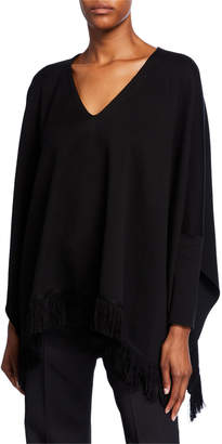 Oscar de la Renta Fringe-Trim Throw Sweater