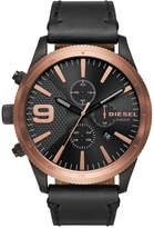 Diesel Men's Chronograph Rasp Chrono Black Leather Strap Watch 50mm DZ4445