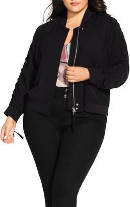 City Chic Ruched Sleeve Bomber Jacket