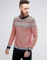 Asos Knitted Jumper With Pattern Design In Pink