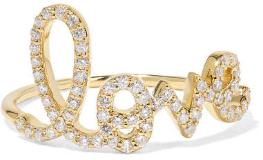 Sydney Evan Large Love 14-karat Gold Diamond Ring