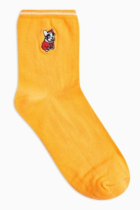 Topshop Womens Christmas Mustard Embroidered Frenchie Socks - Mustard