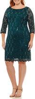 Tiana B 3/4 Sleeve Floral Sheath Dress-Plus