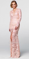 Tarik Ediz Prom Long Sleeve Lace High Slit Evening Dress