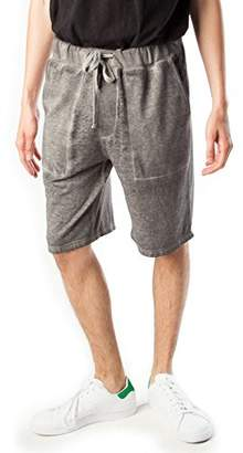 Rebel Canyon Young Men's Drawstring Waist Front Pocket Jogger Short with Burnout