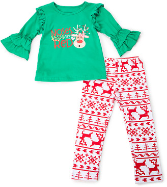 Lady's World Girls' Leggings GREEN/RED - Green Reindeer Ruffle-Sleeve Top & Red Fair Isle Leggings - Newborn, Toddler & Girls
