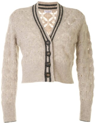 Brunello Cucinelli Cropped Crochet Cardigan