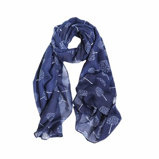 TRISTIN Ladies Mulberry Tree Print Fashion Scarf Women's Cotton Voile Long Scarves Floral Neck Scarf Shawl Wrap (Navy)