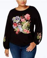 INC International Concepts Plus Size Embroidered Sweatshirt, Created for Macy's